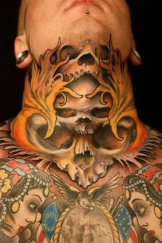 Watch out for the hidden skulls in this neck tattoo. #InkedMagazine #neck #tattoo #tattoos #skulls #skull #flames #inked #ink
