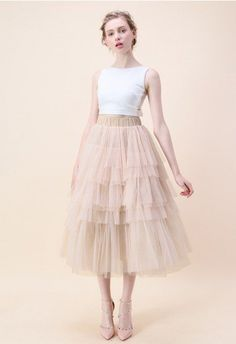 This layered tulle skirt in a confectionary pink has us head over heels in love. - Tiered mesh fabric finished - Multi mesh layer - Elastic waistband - Lined - Polyester - Hand wash cold Size(cm)Length Waist XS-S 80 M-L 81 XL &nbsp Chiffon Maxi, Pleated Midi Skirt, Nude Skirt, Unique Fashion, Fashion Fashion, Fashion Women, Vintage Fashion, Mode Unique, Mesh Skirt