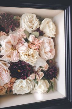 Make your bridal bouquet last more than just a day. Make it a piece of art that lasts a lifetime! #flowerpreservation #weddingbouquet #preservedflowers #weddingflowers #floralpreservation Bouquet Shadow Box, Flower Shadow Box, Flower Boxes, Flower Frame, How To Dry Out Flowers, How To Preserve Flowers, Freeze Dried Flowers, Memorial Flowers, Bridal Flowers
