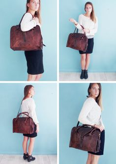 The Vagabond 24 hour bag: Vintage style brown leather holdall duffel weekend bag carry on flight luggage unisex womens