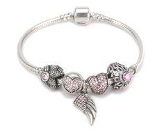 S925 Sterling Silver Pink Zirconia Story Bracelet--charmselft.com