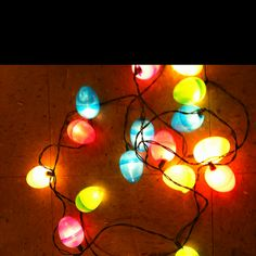Easter egg lights. Poke a hole in the bottom of plastic egg and stick a white Christmas light in it!