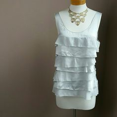 Silk and Chiffon Tiered Tank Silver and sheer layers create beautiful movement. Dresses up or down. The back is particularly pretty. Worn only a couple of times. White House Black Market Tops Tank Tops