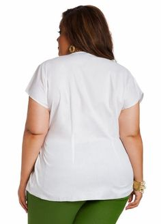 Ashley Stewart Women's Plus Size Belted Wrap Top White 12