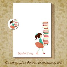 personalized stationery set- Library Girl Boxed Stationery Set - gift set flat card notecard librarian reading book teacher