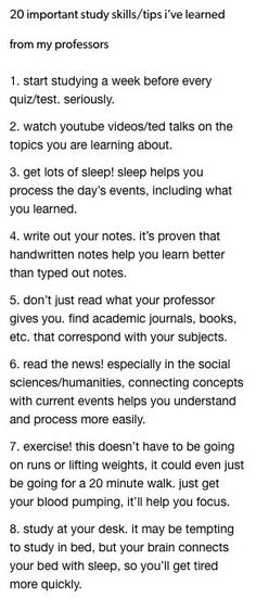 20 important study skills/tips i've learned from my professors # university tips College Life Hacks, Life Hacks For School, School Study Tips, School Tips, Study College, Studying In College, Study Tips For College, College Agenda, Studying Girl