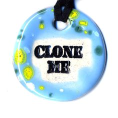 Clone Me Ceramic Necklace in Pale Spotted Blue by surly on Etsy, $18.00