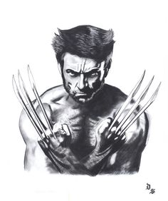 September, Diego - Original charcoal and graphite drawing - Wolverine - W.B.