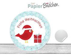 """www.papierbuedchen.de - 24 Aufkleber """" Vögelchen """" (W20) - Weihnachten"""