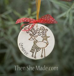 Personalized Reindeer Christmas Tree Ornament by Thenshemade