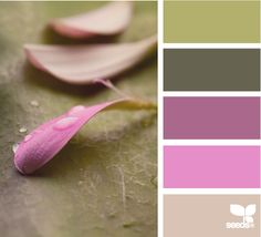BRANCHES & PETALS:  Sage Green + Slate Gray + Lavender + Lilac + Light Pink (Use outdoorsy neutrals to tone down girly hues)