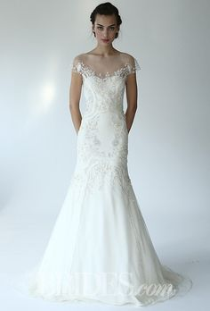 """Brides.com: Fall 2014 Wedding Dress Trend: Illusion Cap Sleeves. Style B07126, """"The Trellis"""" embroidered tulle A-line wedding dress with illusion neckline and cap sleeves, Lela Rose"""