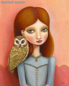 golden owl art girl art print red head big eye girl room wall decor - 8x10 premium matte paper - woodland pop surrealism by Marisol Spoon. $18.00, via Etsy.