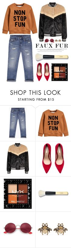 """Non stop faux fur fun"" by yoa316 ❤ liked on Polyvore featuring Levi's, Free People, Bobbi Brown Cosmetics, Ray-Ban, Gucci and fauxfur"
