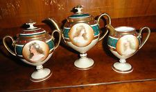 ANTIQUE ROYAL VIENNA PORCELAIN AUSTRIA TEA POT, CREAM AND SUGAR PORTRAITS SIGNED