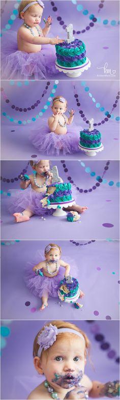 purple and teal cake smash - 1st birthday theme - purple and teal setup