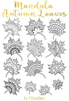 Autumn Leaves Craft, Autumn Crafts, Autumn Art, Nature Crafts, Mandala Design, Mandala Art, Mandalas To Color, Colouring Pages, Coloring Books