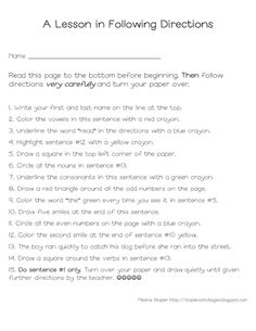 Printables Following Directions Worksheet Middle School first day of school teaching and boys on pinterest following directions