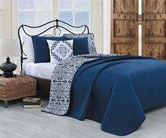 Geneva Home Fashion 5 Piece Capri Quilt Set, King, Navy ** Check out this great…