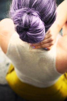 Purple pastel bun hairstyle
