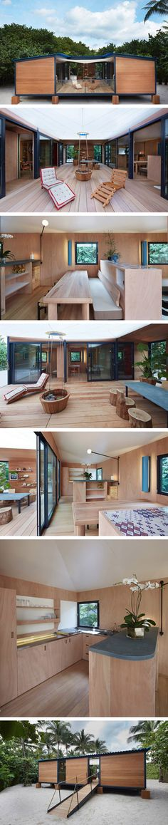 Container House - Charlotte Perriand La Maison au Bord de l'Eau. Rebuilt for Art Basel Miami Beach with LVs support Who Else Wants Simple Step-By-Step Plans To Design And Build A Container Home From Scratch? Building A Container Home, Container Buildings, Container Architecture, Architecture Design, Sustainable Architecture, Miami Houses, Shipping Container Homes, Used Shipping Containers, Charlotte Perriand
