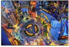 Birdseye view of Columbus Circle, New York City; fotografía de Kevin Woods