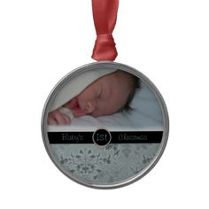 baby's 1st Christmas photo Christmas ornament