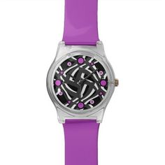 Black White Purple Abstract Watch