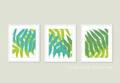 Tropical Leaf Prints Botanical Wall Art Teal and by AldariArt