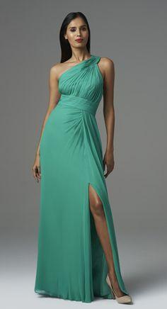 """<div class=""""ip-description""""><br/>            Style#: 457650<br/>            Colors: Spring Green,Deep Berry,Neptune<br/>            Description: One Shoulder Draped gown w/ Slit<br/>          </div>"""