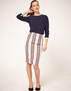 Stripe pencil skirt and long sleeve top http://rstyle.me/g39v5nbu6e