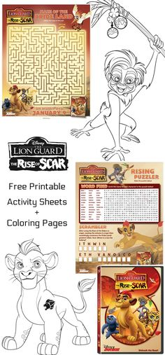 Free Printable Disney The Lion Guard Coloring Pages Activity Sheets