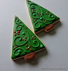 Modern Style Large Christmas Tree Decorated Sugar Cookies (#2557) by 3CSC on Etsy https://www.etsy.com/listing/257431092/modern-style-large-christmas-tree