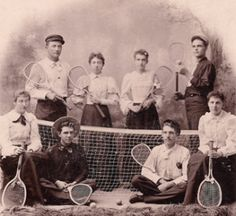 A teenage Carrie Ingalls stands, second from the left, with other tennis team youth.