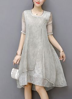 Cotton Solid Half Sleeve Knee-Length Elegant Dresses (1054837) @ floryday.com