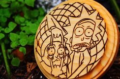 Rick and Morty 5x5 Wood Burn Grid // Rick and Morty Art //