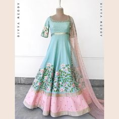 A floor length teal and pink ensemble!!!!!Can it ever go wrong