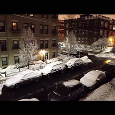 another snowy night. same old view from my bedroom window. good night from Boston ⛄ (2013.02.24)