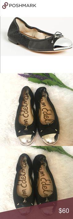 Sam Edelman ✨ Fairleigh silver toe metallic flat with pebbled gems. Euc Sam Edelman Shoes Flats & Loafers