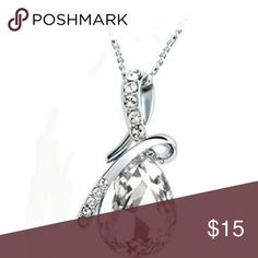 White Crystal Silver-Plated Necklace New Beautiful Crystal Necklace Alloy More colors available: Red White Brown Sky blue Blue  Purple Jewelry Necklaces