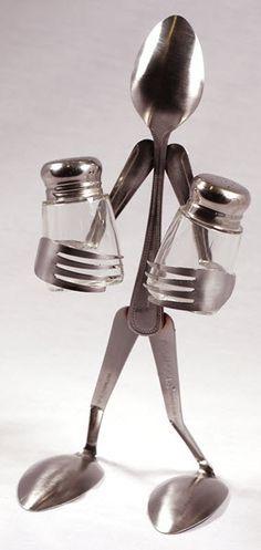 Arte con cubiertos para poner Sal y Pimienta en tu mesa!!!!