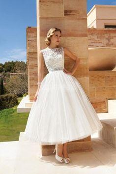 Bateau Neckline Tea-length V-back Lace Bodice Vintage Wedding Dress (Demetrios)