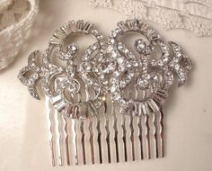 Vintage Art Deco Old Hollywood Glamour Rhinestone Encrusted Silver Plated Bridal Hair Comb, Heirloom Brooch Haircomb Large GATSBY
