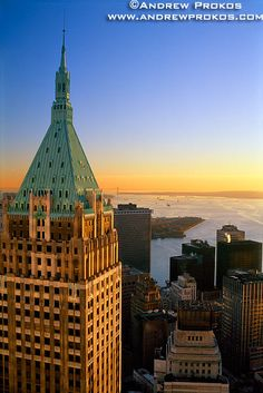 View of 40 Wall Street and New York Harbor at Sunset I - http://andrewprokos.com