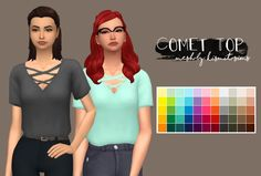 """Comet Top Recolor""""Here's a recolor of one of my new favorite tops, to include all 55 colors in the """"Sandwich"""" palette. It's disabled for random, has a custom thumbnail, and is standalone. Enjoy!..."""