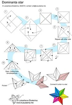origami dominanta star, instructions, origami, paper folding and star