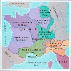 France was known as Gallia by the Romans, and its people as Galli. The Greeks knew them as Keltoi – which is where we get 'Celts' from. In fact, they probably didn't think of themselves as anything other than belonging to a tribe. Gaul was a vast area stretching from the Alps to the Pyrenees, and taking in all of modern-day France, Belgium, Luxembourg and most of Switzerland.