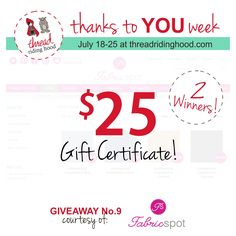 Thanks to YOU Week Giveaway No.9 is from @fabricspot - Visit www.threadridinghood.com to enter for your chance to win!
