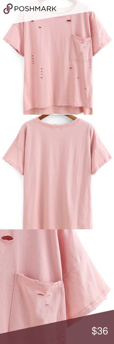 Pink holey shirt Pink shirt with holes throughout and pocket on the left chest. Brand new in package, no tags attached. No size, but fits a small/medium. Armpit to armpit is 20 inches, length is 22 inches in the front, 24.5 in the back. Psalm465 Tops Tees - Short Sleeve
