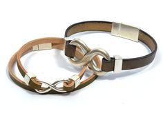 couples infinity bracelets * infinity leather bracelet * couples jewelry * boyfriend girlfriend gift * couples leather bracelets * unisex by CozyDetailz on Etsy